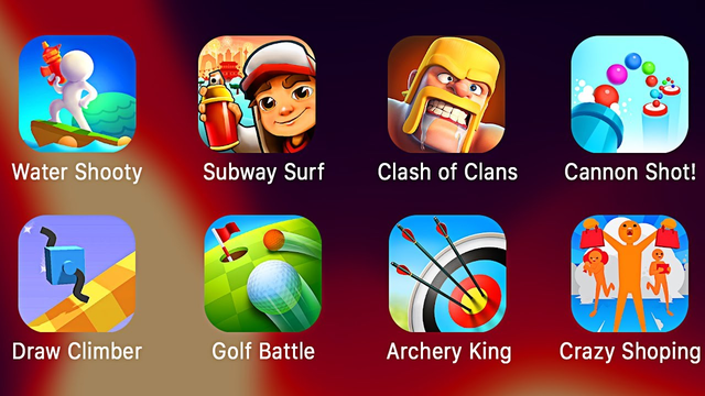 Water Shooty, Subway Surf, Clash of Clans, Cannon Shot!, Draw climber, Golf Battle, Archery King