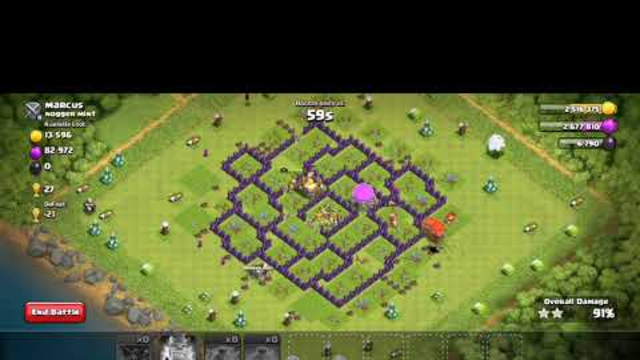Clash of clans townhall 8 loon attack  max loot with 3 star base clear