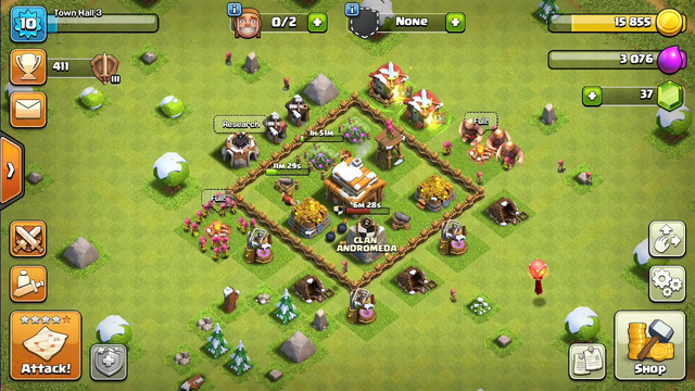 Clash of Clans l attack strategy of Town Hall 3 - gameplay.
