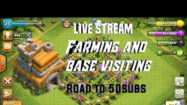 CLASH OF CLANS LIVE TH7 ||base visiting and farming