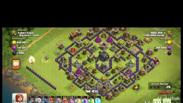 Clash of clans valkyrie pekka healer wizard attack on town hall 9