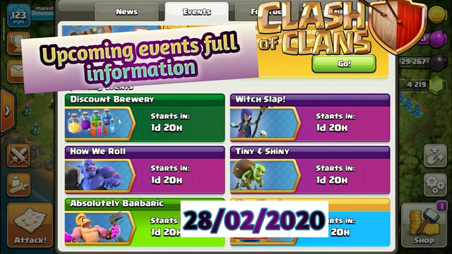 Upcoming events rewards full information...clash of clans...