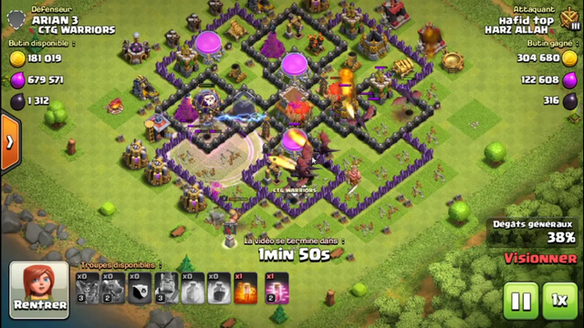 clash of clans  the power of balloon lv max with dragon lv 2 can defeat Air defense lv6