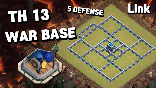 TH13 War Base With Link 5 Defense TownHall13 Clash of Clans COC [#5]