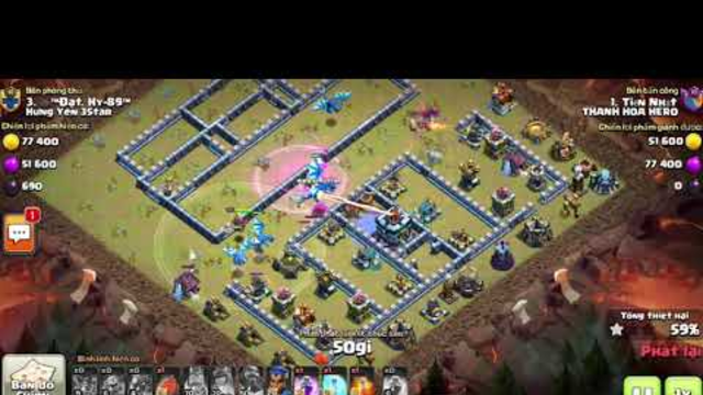 Clash Of Clans ( SKN ) 42 - War Hall 13 Max Combo Dragon Electric
