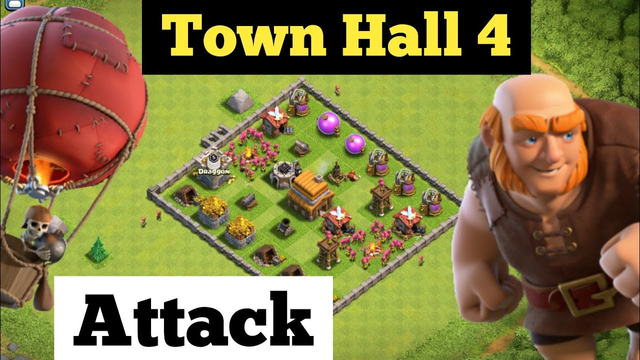 Town hall 4 attack strategy for trophies | clash of clans town hall 4 attack strategy