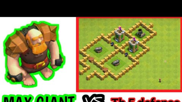 LEVEL 9 MAX GIANTS VS TH5 DEFENSE|CLASH OF CLANS