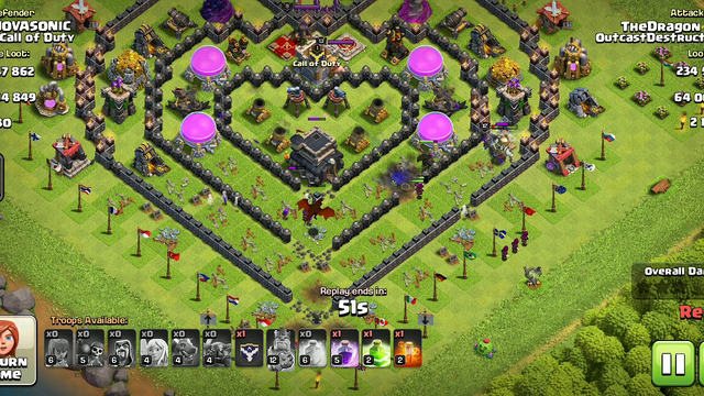 Clash of clans/ Town hall 9 strategic defence against pekkas
