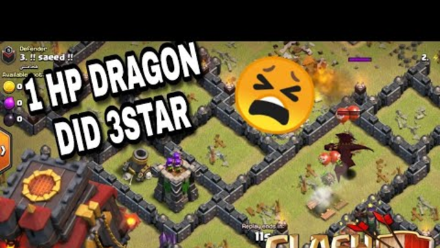 1 HP LEVEL 5 DRAGON SAVED THE FULL WAR | CLASH OF CLANS