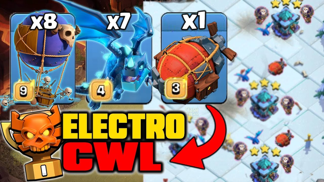 Electro CWL - After Update TH13 Electro Dragons Super STRONG! Amazing Air 3 stars (Clash of Clans)