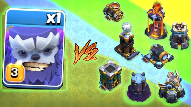 Max Yeti vs All Max Defence | Clash of Clans | *Overpowered Inferno Tower* | NoLimits