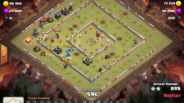 Attacking ring base (early TH13) in Clash of Clans
