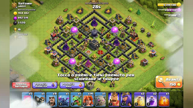 Clash of Clans,, attacco con truppe th8