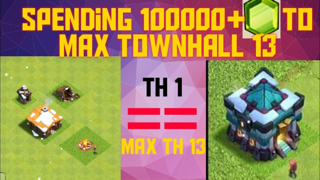 Upgrading Townhall 1 to Townhall 13 | Clash of Clans | Spending Gems to Max Townhall 13 |