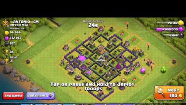 How to 3 star a th8 base/clash of clans/govlk attack/Golem valk attack/
