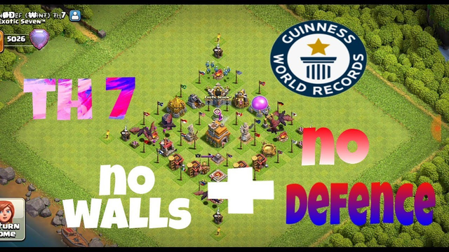 World record on th 7 no defence and no walls ||clash of clans India
