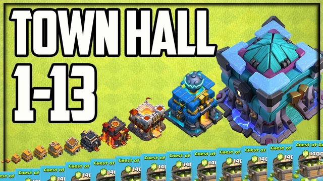 ALL Town Halls 1-13! Clash of Clans GEM to MAX!