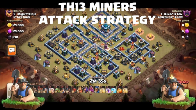 TH13 Miners Attack Strategy | Clash of Clans TH13 | 3 Star TH13 war base