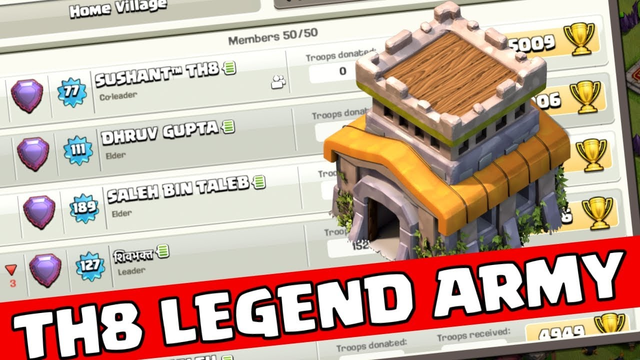 TH 8 Trophy Pushing To Legend League-Clash of Clans!