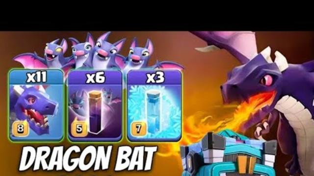 TH13 DragonBat Attack 2020! 11 Dragon 3 Freeze Spell 6 Bat Spell 3star TH13 Attack | Clash of Clans