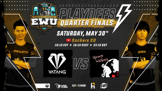 LIVE QUARTERS FINAL EWU 7 | VATANG VS QUEEN WALKERS | CLASH OF CLANS | CASTER SOCKERS