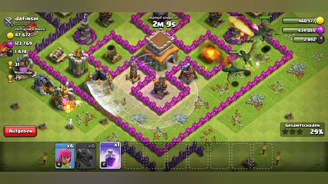 Playing clash of clans atack on town hall 8.