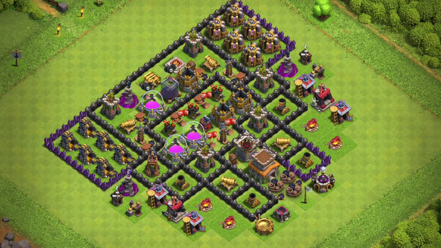 Clash Of Clans TH8 Air Defense/resource Protection Base | Made By Me!