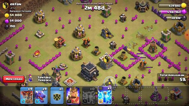TH 8 WAR RATAIN TH 9 full bintang.. #clash of clans