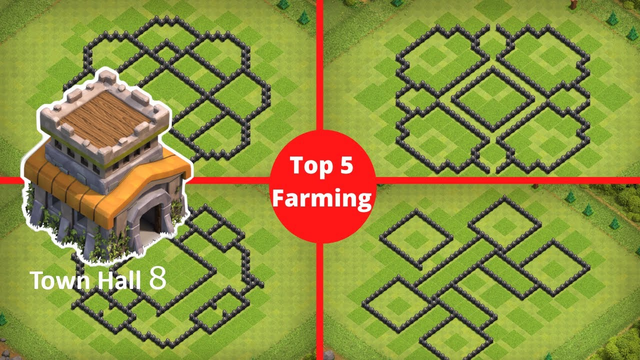 Top 5 TH8 Farming Bases With Copy Link/ Anti 3 Stars/ Anti Air/ Anti Ground - Clash of Clans