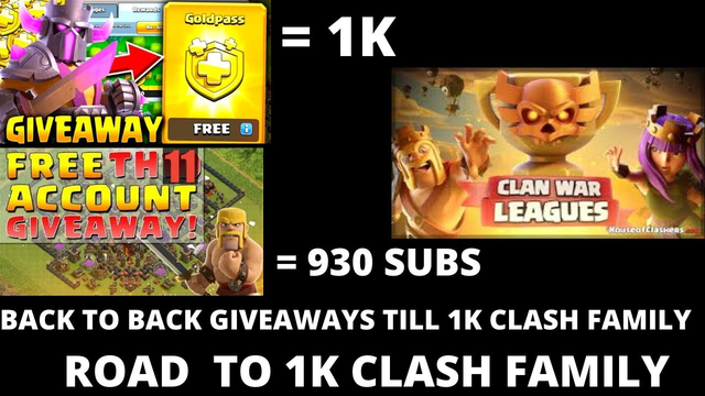 #ROADTO1KFAMILY||CLASH OF CLANS LIVE||th11 GIVEAWAY AT 930 SUBS LIVE|GOLDPASS GIVEAWAY||STAR CLASHER