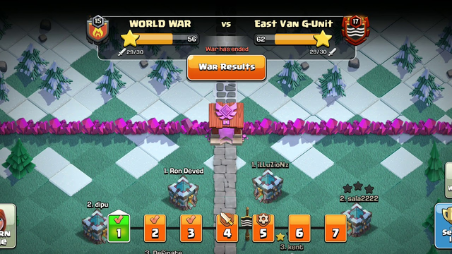 CLAN WAR LEAGUE JULY SESSION IN CLASH OF CLANS    WORLD WAR VS EAST VAN G-UNIT    DAY 1 PART 1