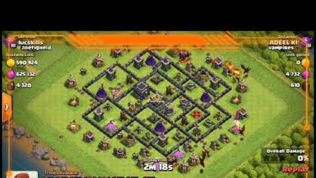 Drag with freeze spell Th9 attack || clash of clan|| coc|| beginner