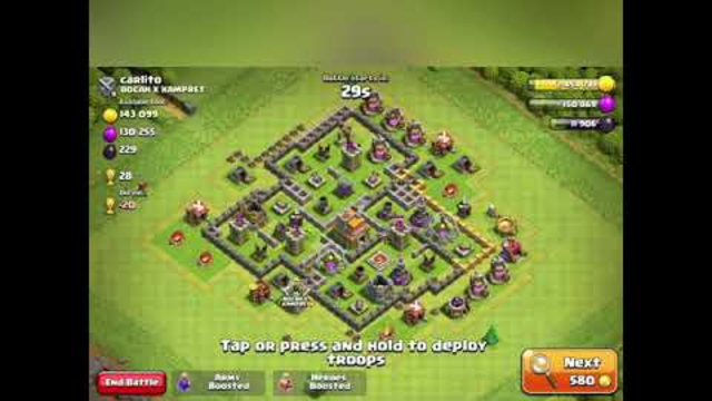 gamelay clash of clans town hall 8 attack