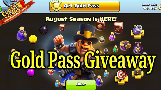 Clash of clans gold pass giveaway august 2020 Free party king skin