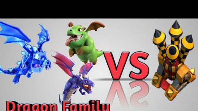 Dragon Family Vs Air Defense | Clash Of Clans