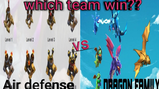 All level dragon family VS All level air defense|clash of clans|which team win??