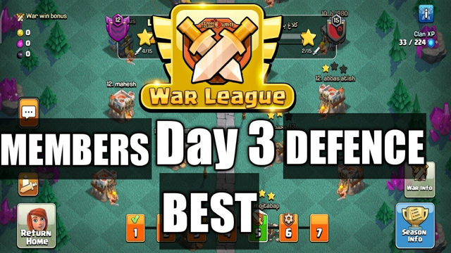 CWL-Day 3 [Best Defence]-Clash Of Clans