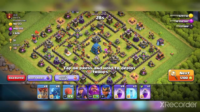 base 13 in earn 3 star for ed attack strategy || clash of clans