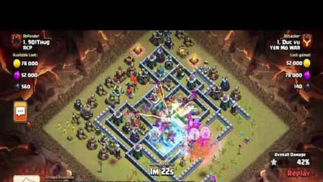 Th13 CWL attack strategy from R.C.P clan. Th 13 Bowlers and Yeti clash of clan attack. #th13 #coc