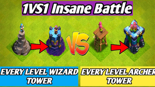 Every Level Wizard Tower Vs Every Level Archer Tower   1 VS 1 Battle   Clash of clans