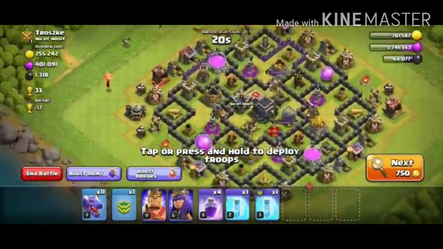 Clash of clans game play (Attack) level 9 town hall Vs level 9 town hall max