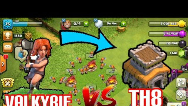 25 Valkyrie vs th 8base in clash of clans