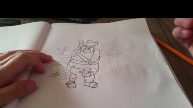 Hoe teken je de barbarenkoning clash of clans/how to draw the barbarion king clash of clans