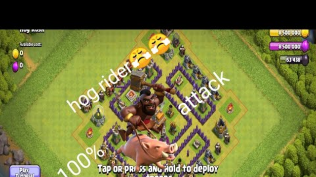 100% hog attack in clash of clans practise mode