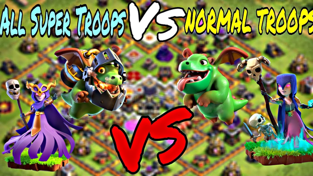 NORMAL TROOPS VS SUPER TROOPS || CLASH OF CLANS