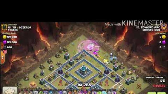 ATTACKING AT CLAN WAR LEAGUE CHAMPIONS LEAGUE 1 CLASH OF CLANS TOWN HALL 13 WITH AQ WALK YETI