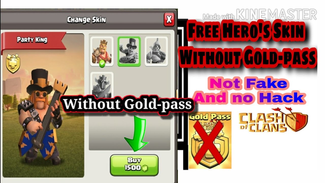 Free Party king sking without Gold-pass . Coc .. Clash of clans