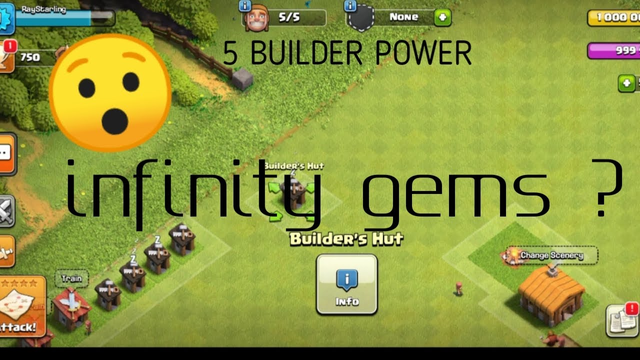 Clash of clans   infinity gems  town hall 1 max with 5 Builder 
