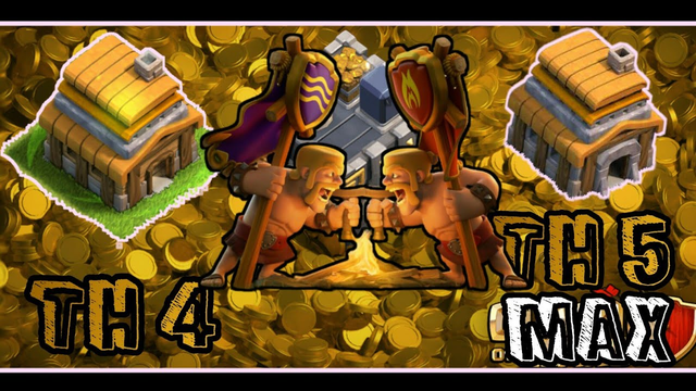 TH4 VS TH5 MAX BASE//BATTLE//COC//Clash of Clans