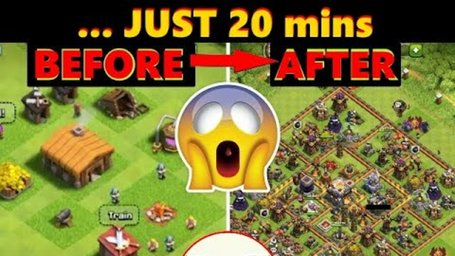Upgrade From Town Hall 1 To Max Town Hall 11 in 20 minutes and HOW !!!   Clash Of Clans   CoC